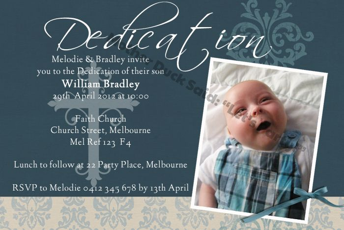 Baby dedication invitation baptism invitation christening baby dedication invitation baptism invitation christening invitation mother duck said lets party stopboris