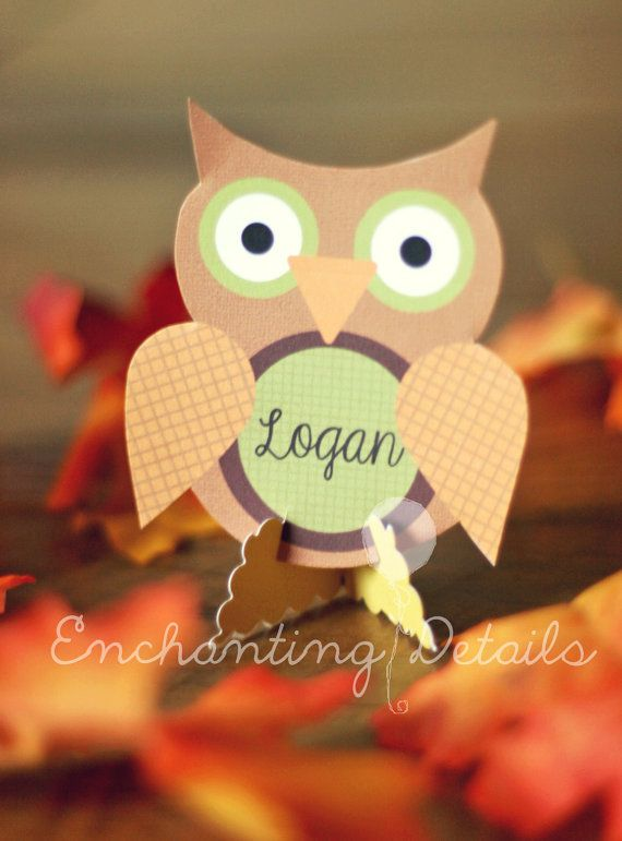 INSTANT DOWNLOAD Printable THANKSGIVING Owl Place Cards- DIY/Customize Editable in Adobe Reader