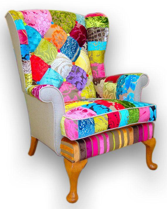 Bespoke Patchwork Armchair In Designer Velvets