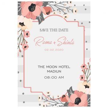 silver flower wedding wedding invitation undangan pernikahan