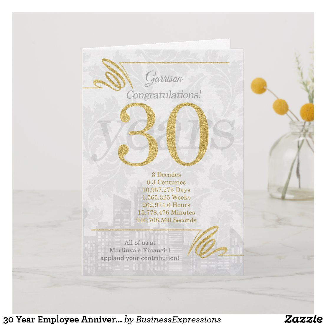 30 Year Employee Anniversary Business Elegance Holiday