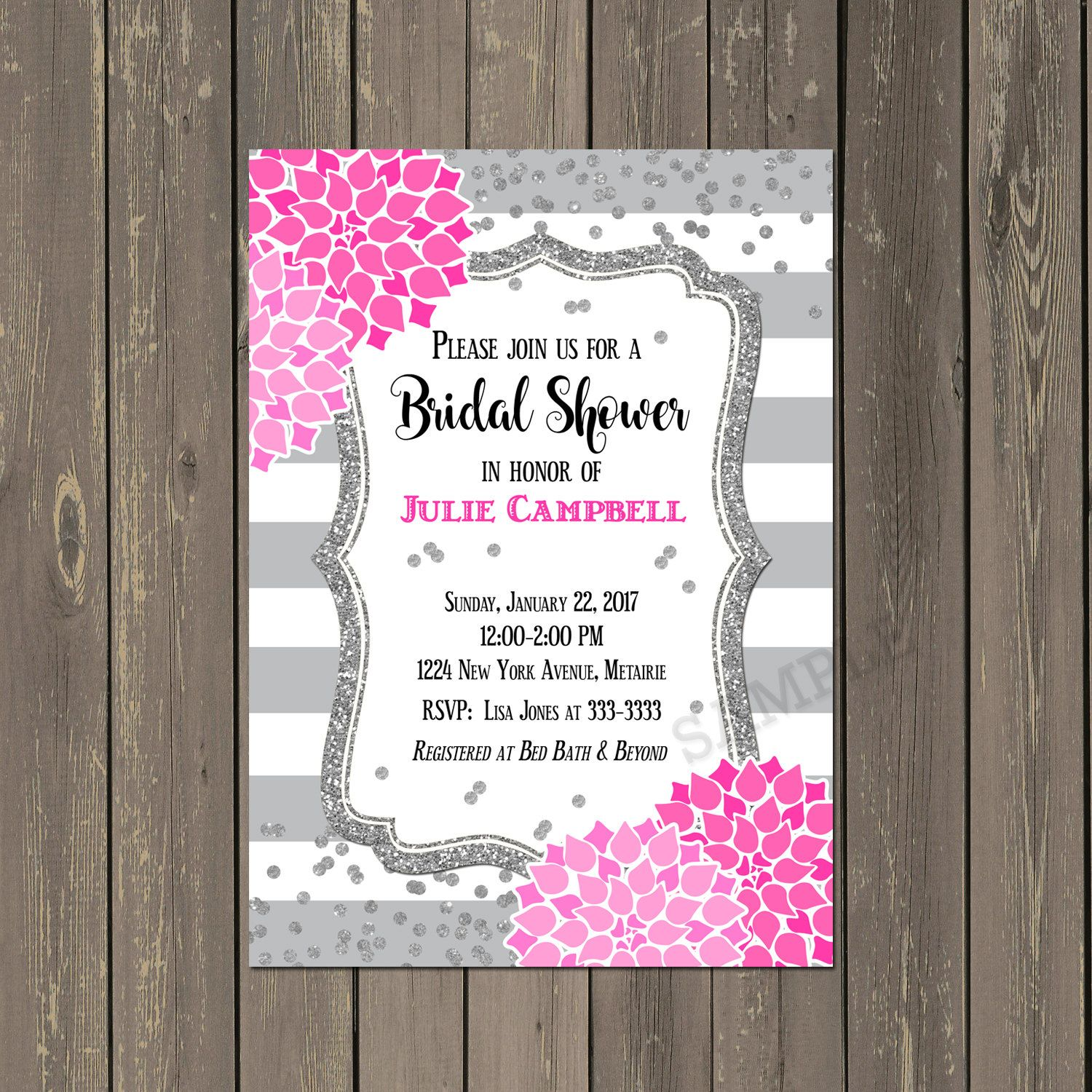 Pink and Gray with Silver Glitter Bridal Shower Invitations, Hot ...