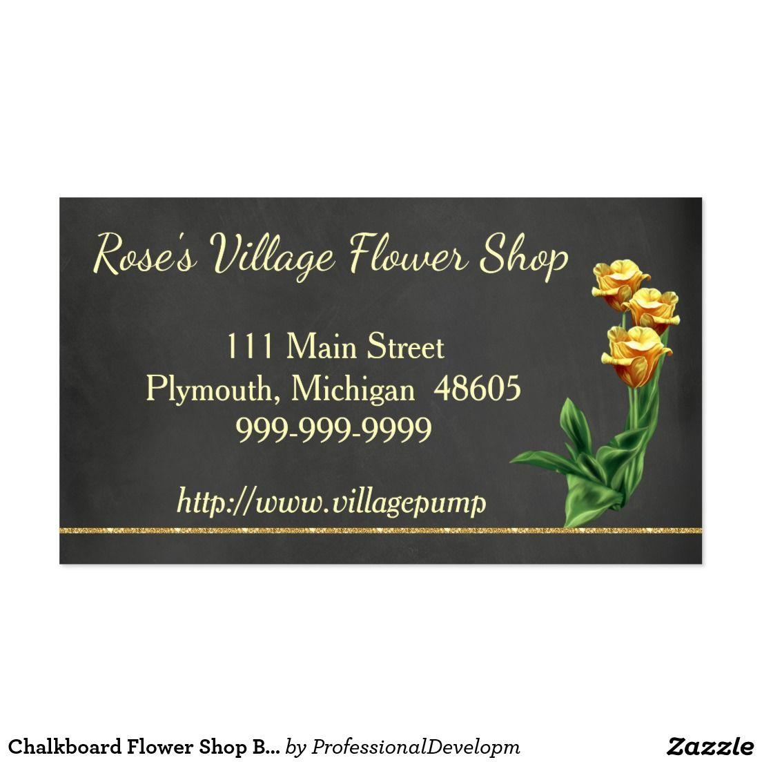 Chalkboard Flower Shop Business Card Yellow Roses Zazzle Com Chalkboard Flowers Chalkboard Wedding Invitations Flower Shop