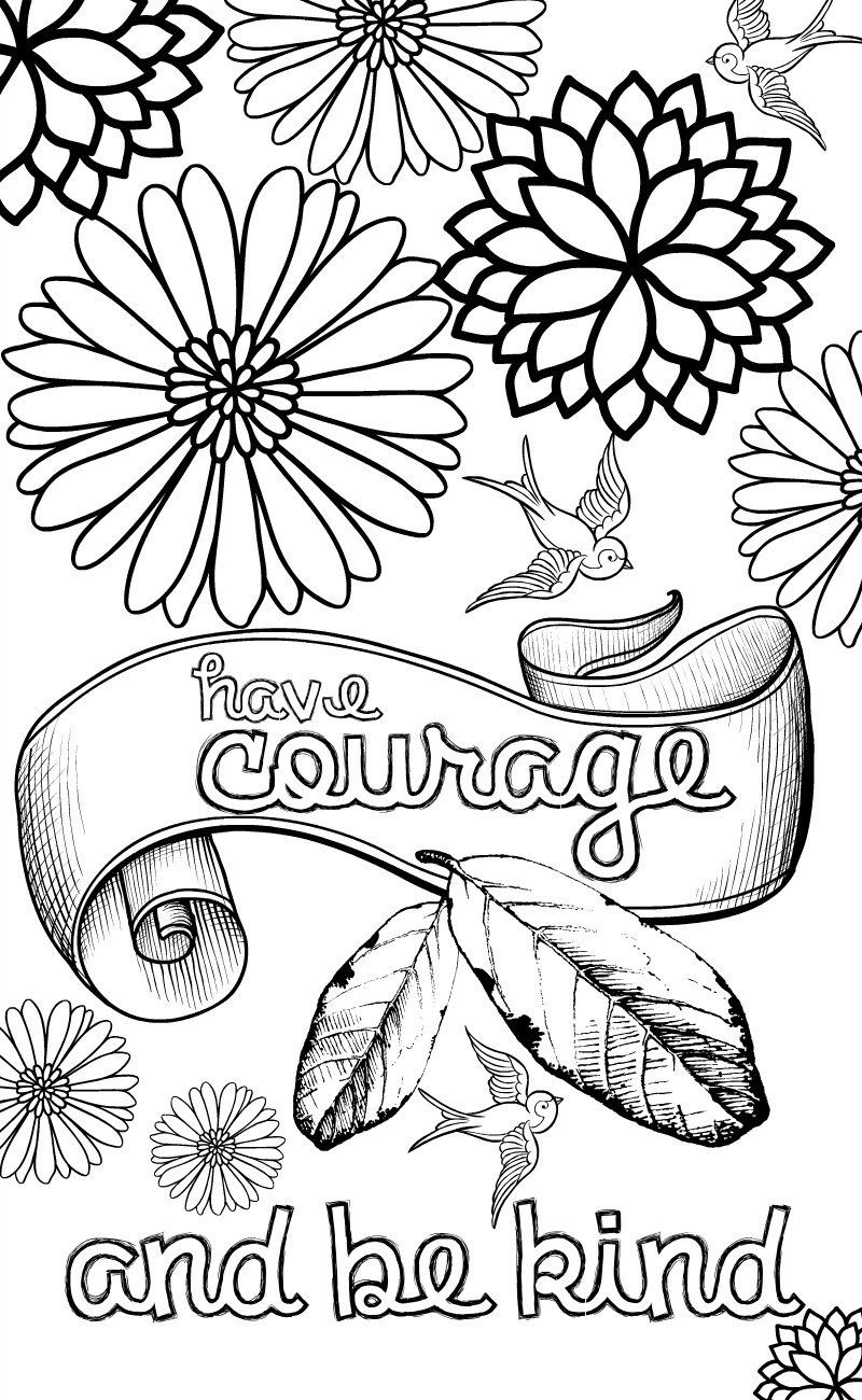 cinderella inspired grown up colouring pages have courage and be kind - Free Quote Coloring Pages For Adults