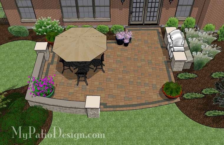Creative And Simple Patio Design With Seat Wall 2