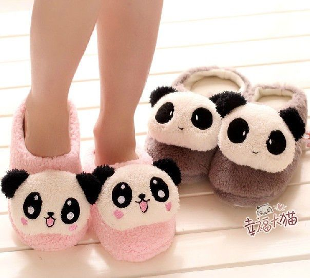 c27a52db9fc Cute Panda Household Plush Floor Slipper Couples Warm Slippers For Lovers 1  Pair Kawaii Shoes