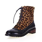 Faux Leather Chunky Heel Oxfords Motorcycle Ankle Boots With Animal Print (More Colors)