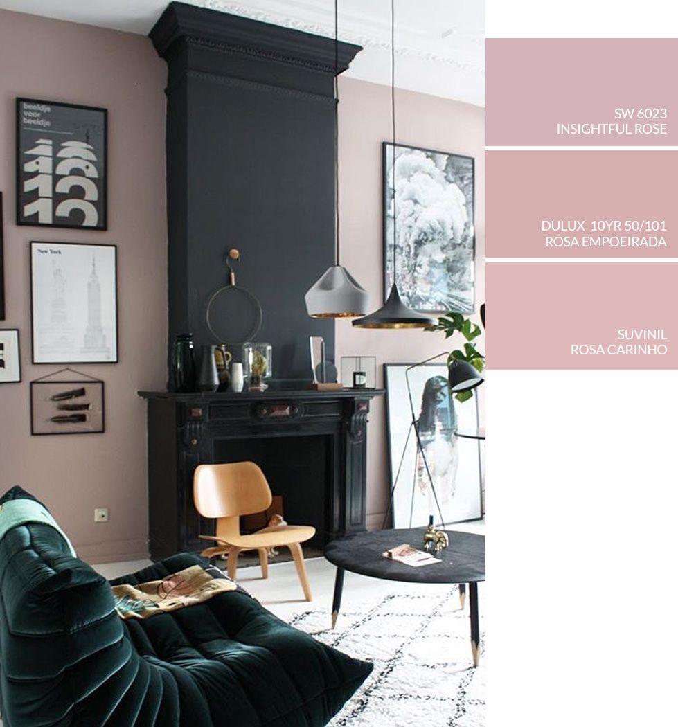 Sala de estar rosa e preta com lareira como escolher for Colores para salas de casa
