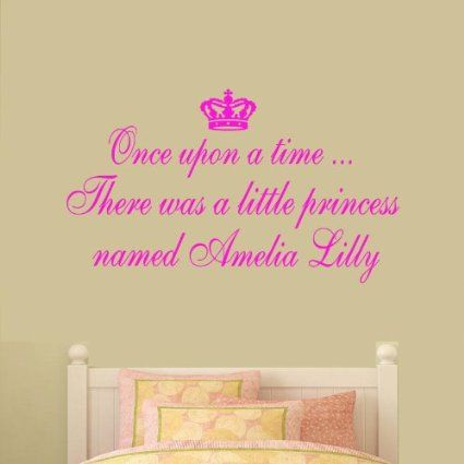 LARGE) ONCE UPON A TIME PERSONALISED NAME PRINCESS BEDROOM QUOTE ...