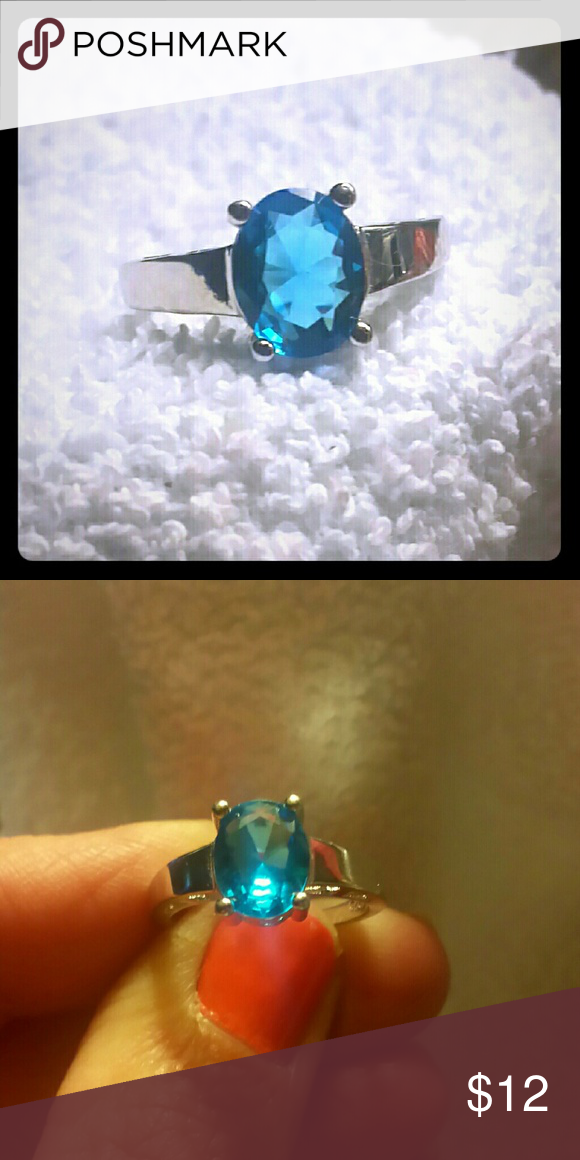 Oval cut Blue Topaz CZ Ring, size 6 Blue Topaz CZ Ring, Jewelry Rings
