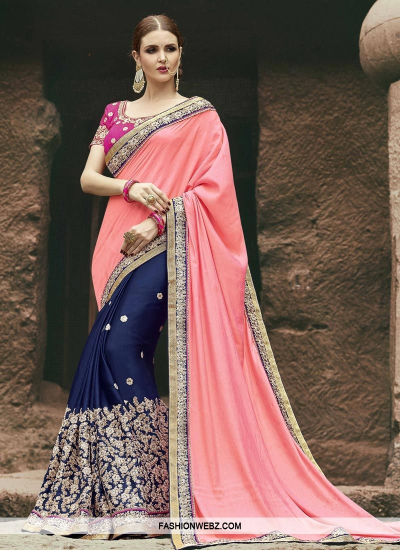 334caadebc8 This  navyblue and  salmon  satin  silk  halfnhalf  saree is accenting the   gorgeous feeling.