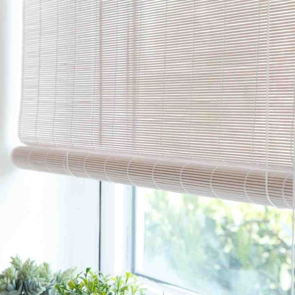 White Bamboo Blinds In 2019 Bamboo Blinds Blinds For Windows Curtains With Blinds