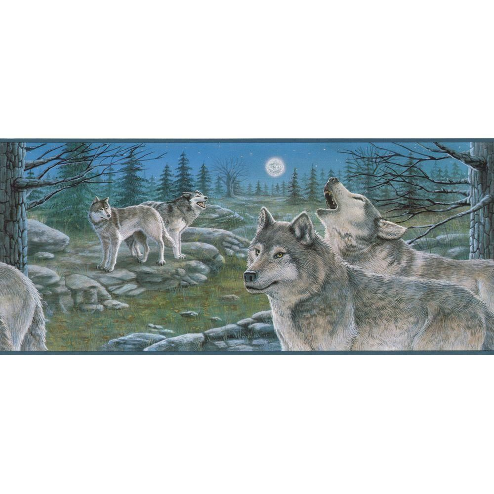 The Wallpaper Company 9 in. x 15 ft. Blue Scenic Wolves