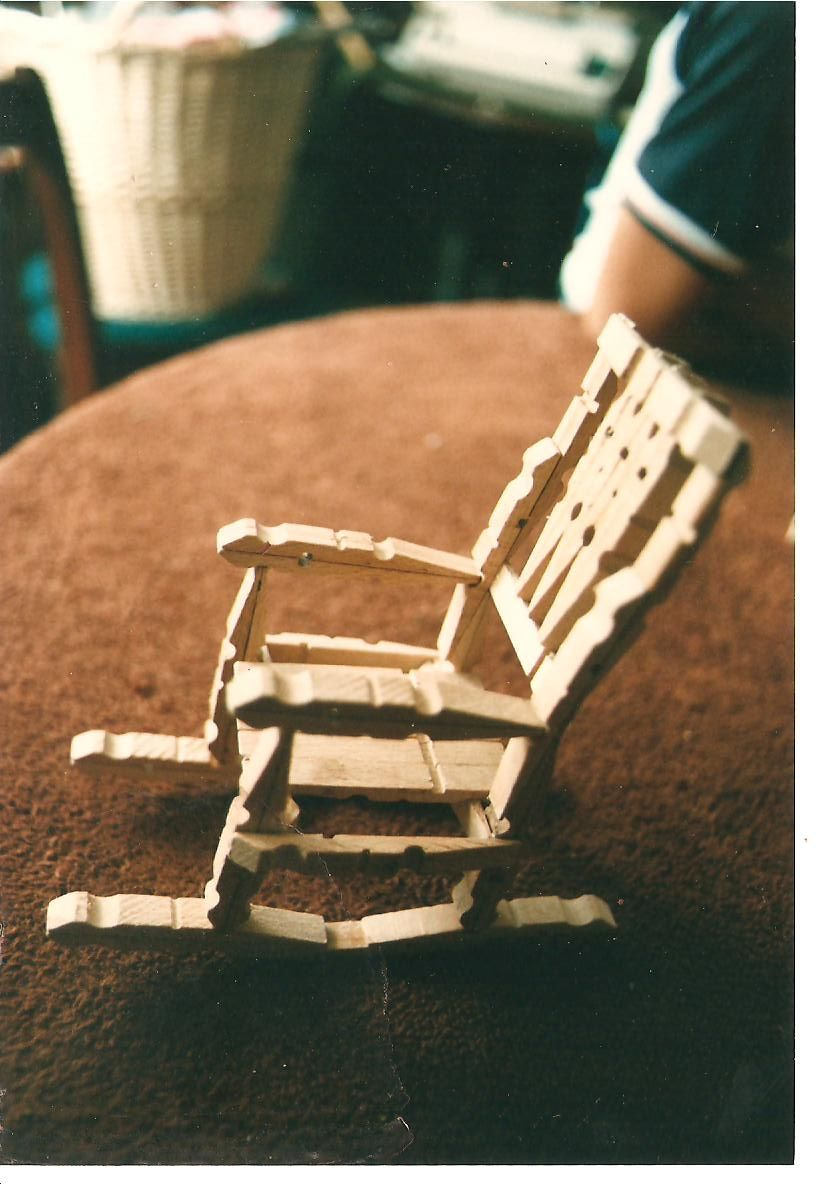 Wooden peg rocking chair kept me quiet many a school for Small wooden rocking chair for crafts