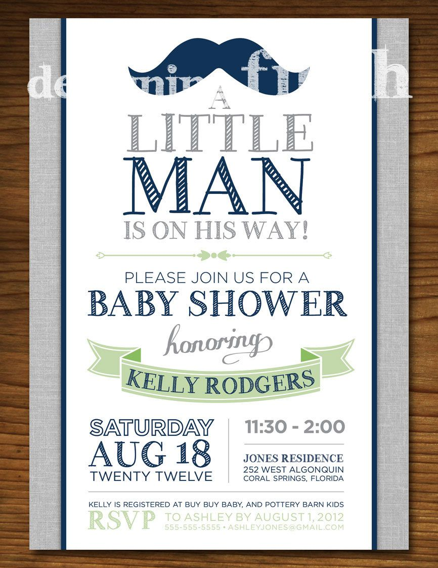 Little Man Baby Shower Invitation Vintage Green and Navy – Free Customizable Printable Baby Shower Invitations