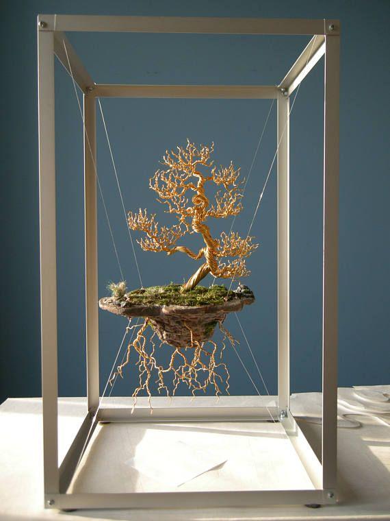 Escultura de árbol de alambre, isla flotante #bonsaiplants