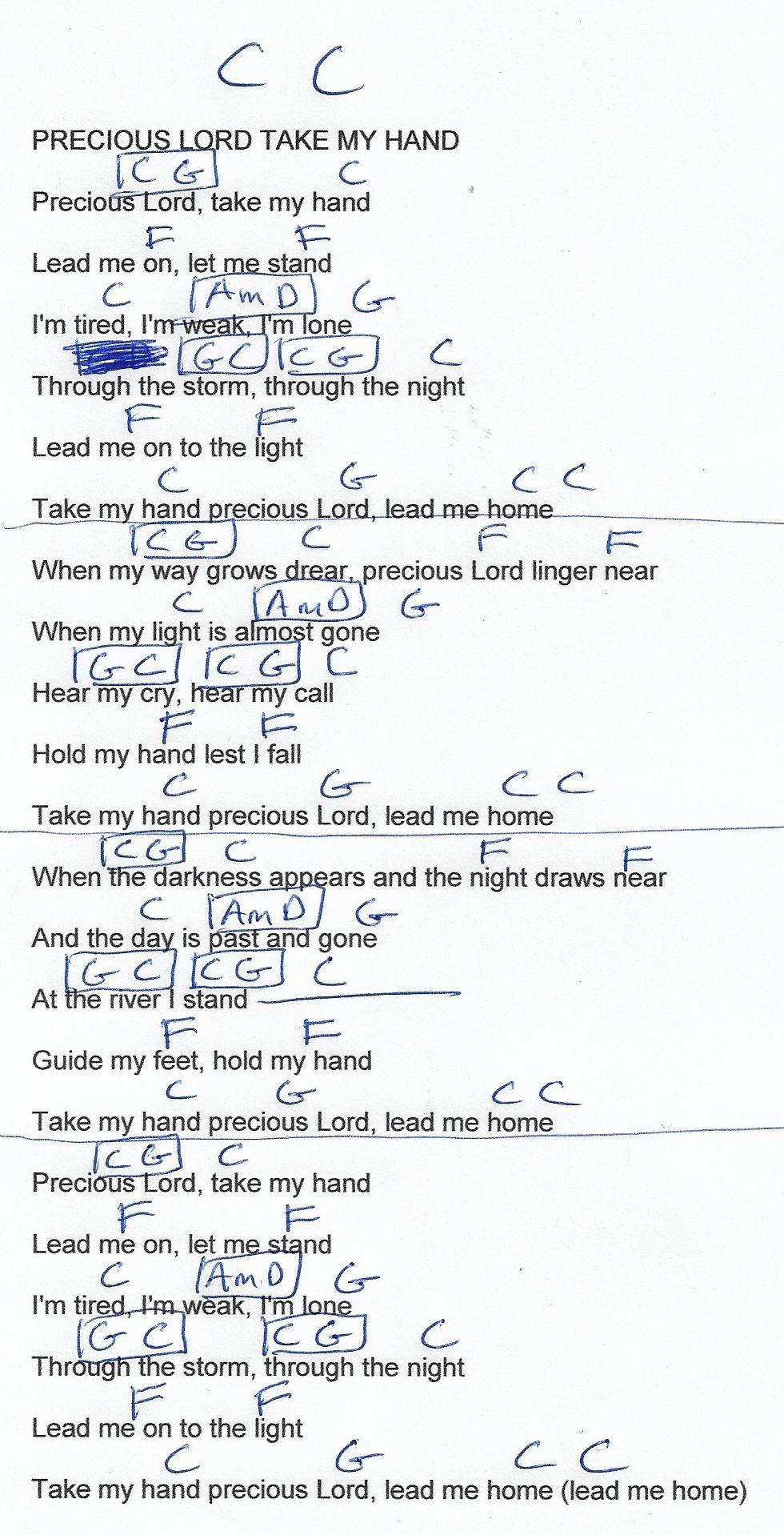 Precious Lord Take My Hand Hymn Guitar Chord Chart In C 2018