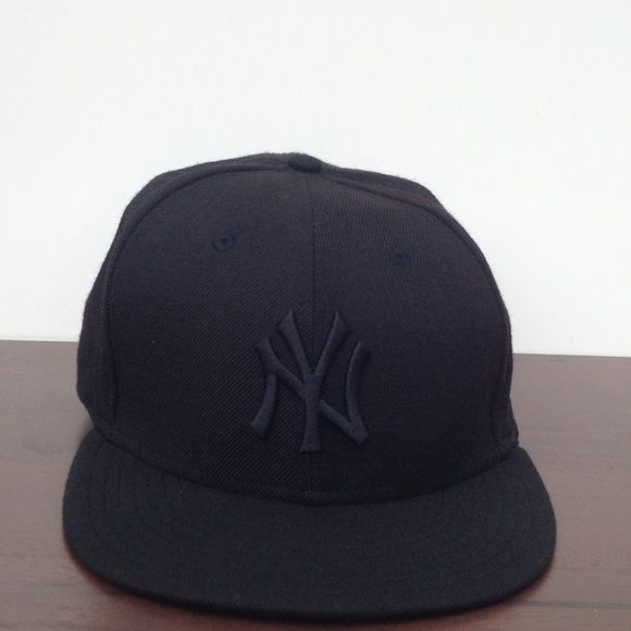 a174929e2a5 New Era Black On Black New York Yankees Fitted Cap In EXCELLENT condition.  I worn