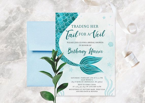 mermaid bridal shower invitation little mermaid bridal shower trading her tail for a veil nautical bridal shower