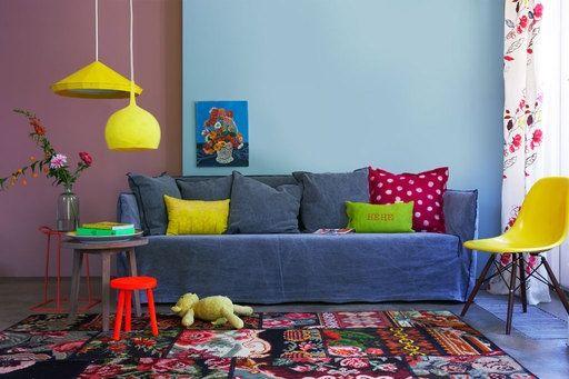 Inspiração décor de Segunda-feira u2013 salas de estar coloridas tapete