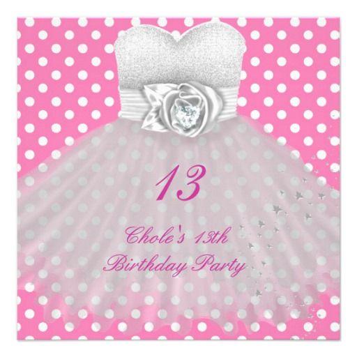 13th Birthday Party Girls 13 Teen Custom Invitation PinkAndBlackObsession
