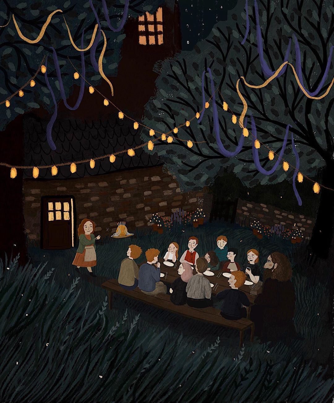 Jess Mason Illustration On Instagram Day Two In The Garden Harry S 17th Birthday At The Burrow Harry Potter Illustrations The Burrow Night Illustration