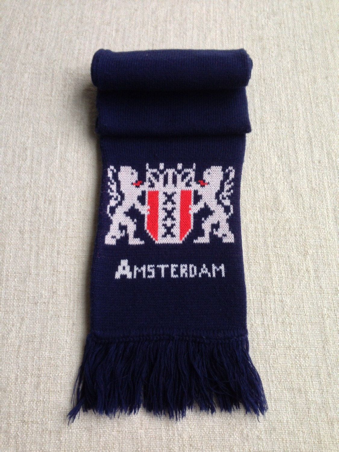 Amsterdam holland made preppy royal school navy blue scarf  by ENGARLAND on Etsy
