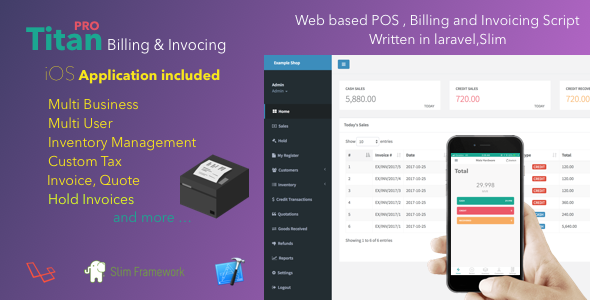 Titan Billing And Invoicing POS PHP Script IOS App Code - Php invoice script
