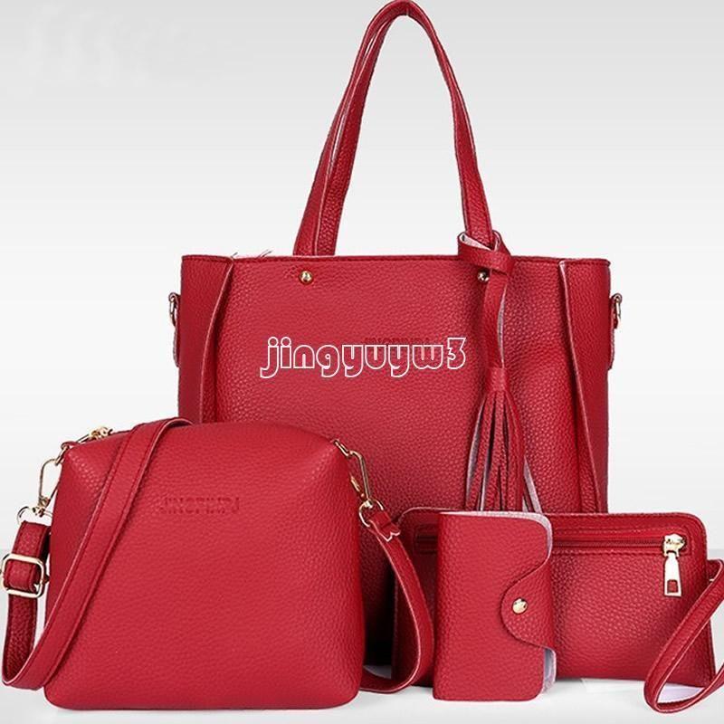 30a0b589e62 4Pcs Women Pu Leather Handbag Lady Shoulder Bag Tote Purse Messenger Satchel  Set