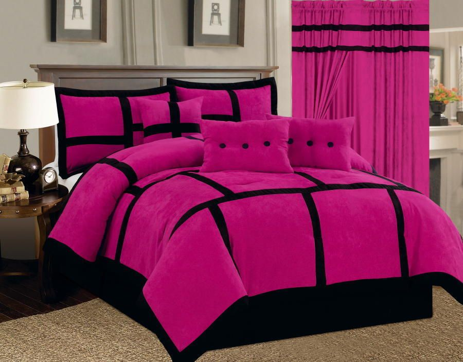 6 Pc Pink Black Comforter Set Micro Suede Full Size New Bed In A