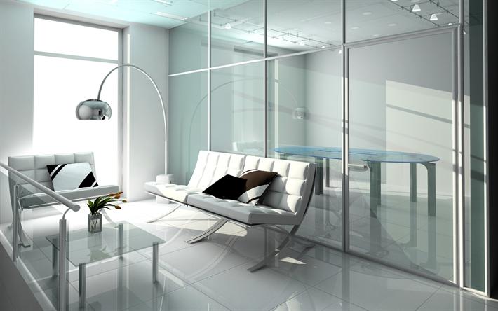 Télécharger fonds décran moderne intérieur lumineux bureau blanc