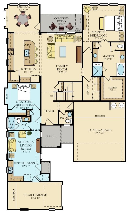 Our Camden Next Gen Floor Plan Is An Amazing 3 000 Sqft Dual Living Home In Our Leander Commun Multigenerational House Plans New House Plans Dream House Plans