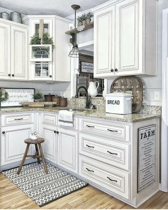 31 White Kitchen Cabinets Ideas In 2020 Antique White Kitchen Cabinets Antique White Kitchen Farmhouse Style Kitchen
