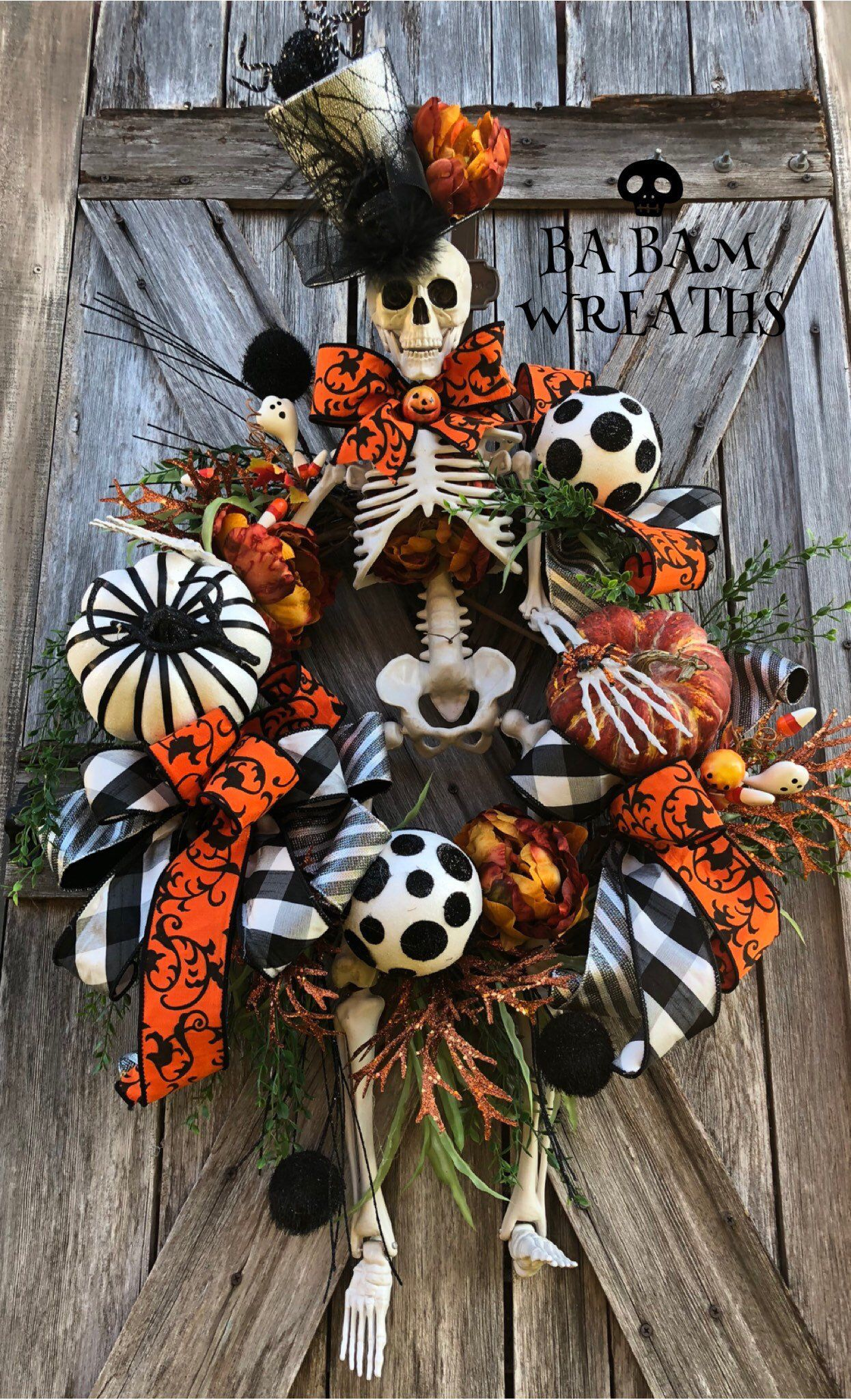Excited to share this item from my #etsy shop: Reserved for Melonie, Mr. Dem Bones, Skeleton Wreath, Skeleton Decor, Halloween Wreath, Halloween Decor, Halloween Door Hanging #halloweenwreaths