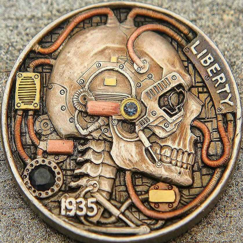 """Hobo nickel coin """"Mech Skull""""  J  H  Ranger artwork  Find"""
