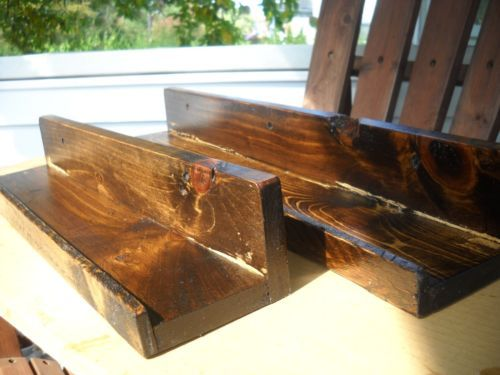 RUSTIC,HANDMADE, WALL FLOATING SHELVES,POTTERY BARN STYLE SET OF 2 DARK WALNUT......SOLD