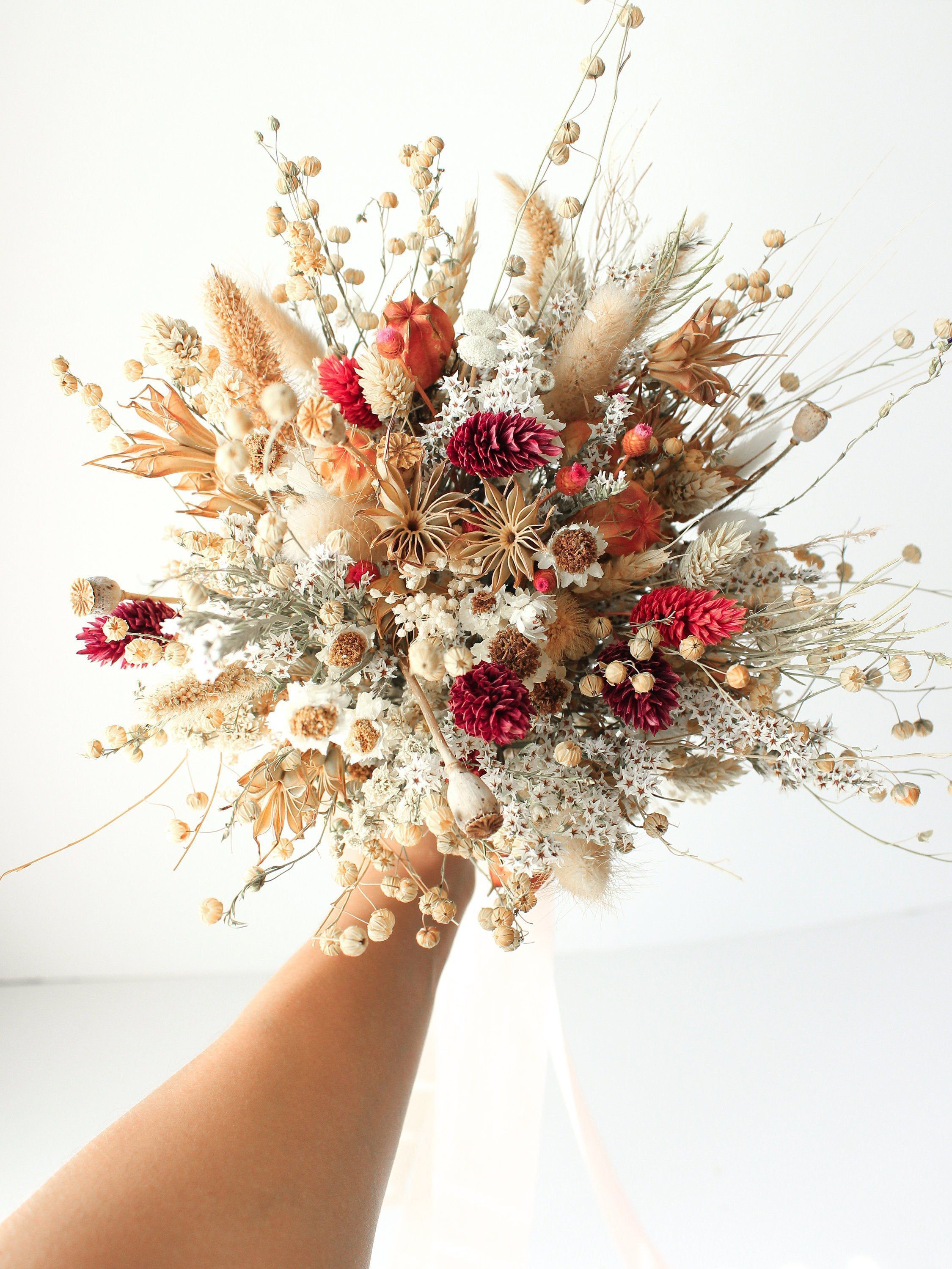 Festival Meadow Bridal bouquet / Dry Flowers bouquet for Wedding / Rustic Boho Brides and Bridesmaid bouquet / Wildflowers Dried bouquet #bridesmaidbouquets