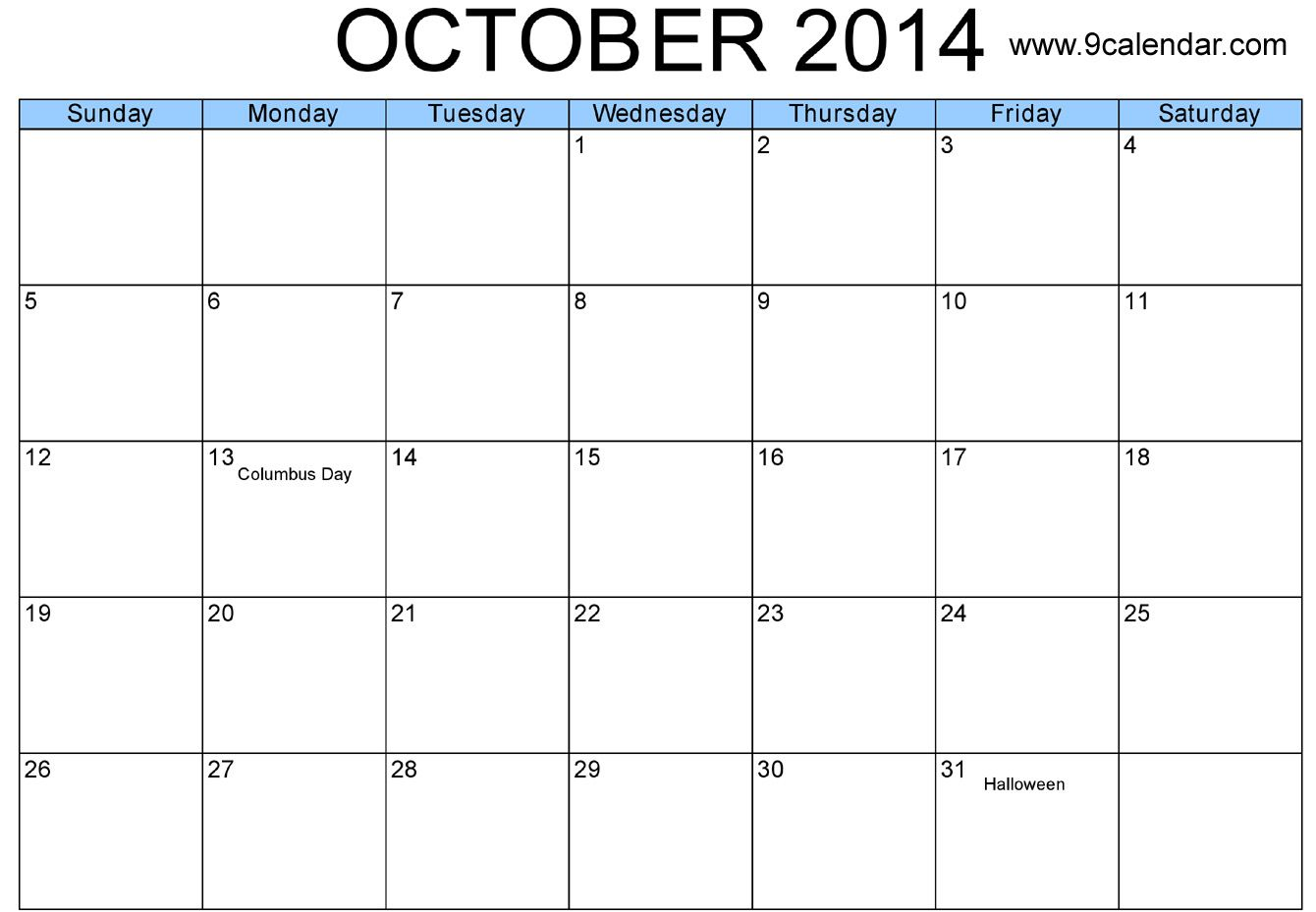 October  Calendar Printable  Template HttpWwwCalendarvip