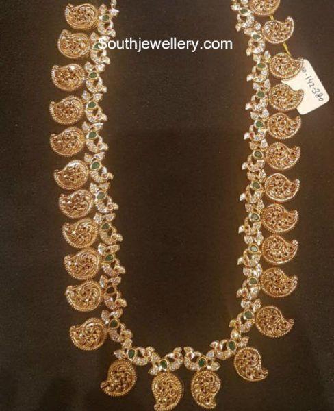 Peacock Mango Mala Photo 22 Carat Gold Jewellery Gold Jewellery Design Indian Jewellery Design
