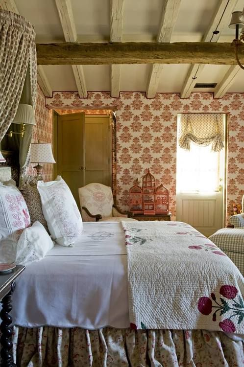 Like The Patterned Wallpaper | Charming Cottages | Pinterest | Bedrooms, English  Cottages And Cottage Style