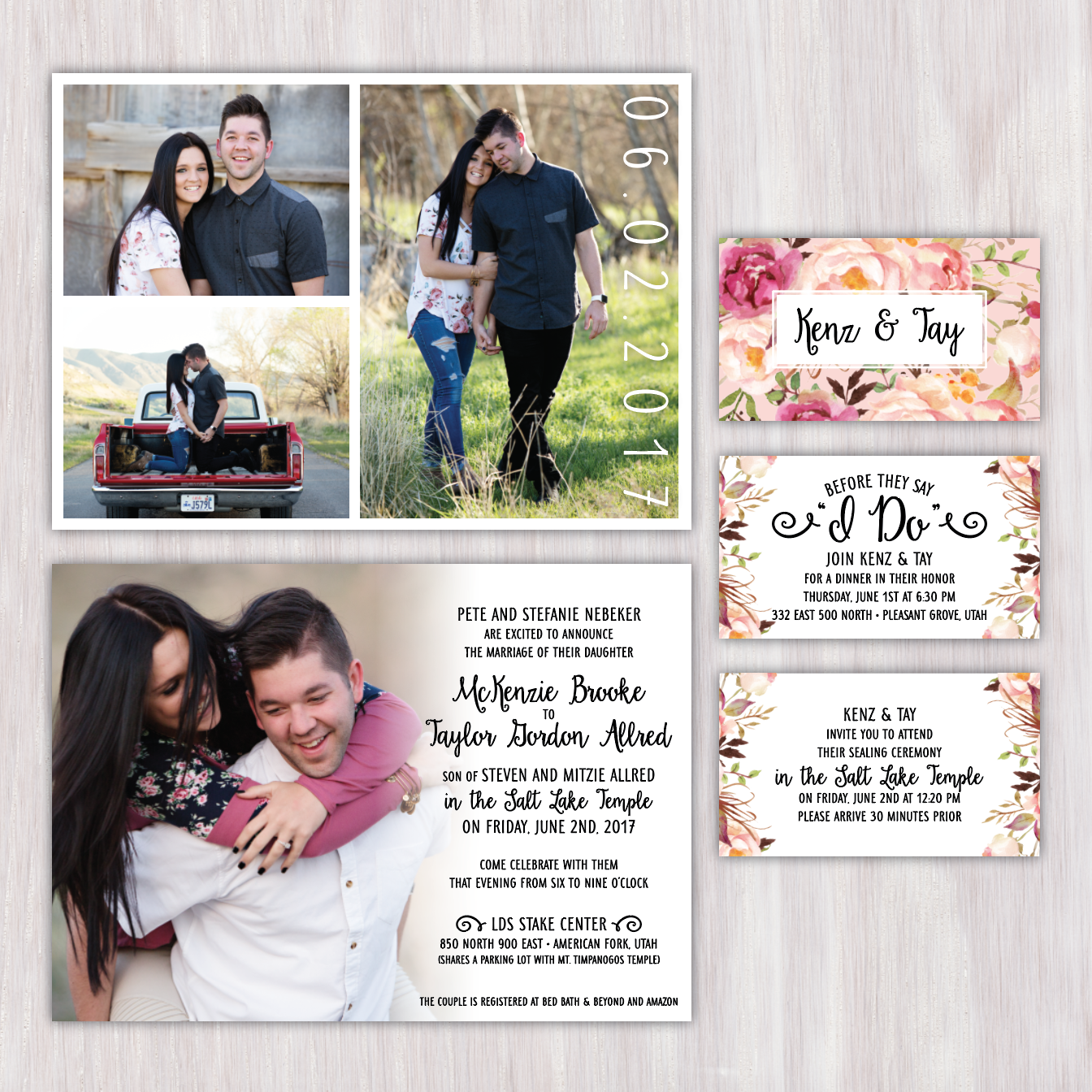 photo fade and collage back wedding invitation with floral enclosure