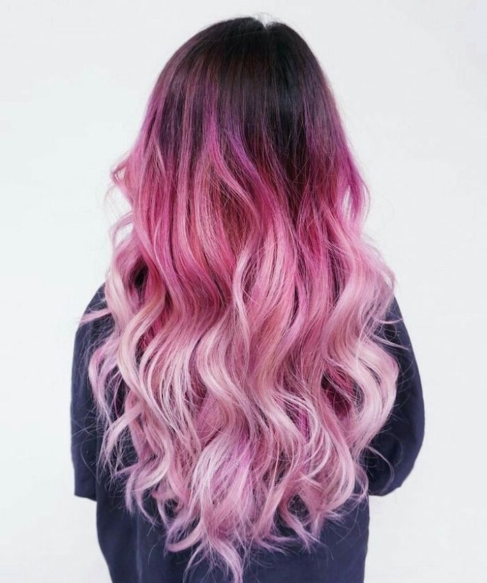 Black To Dark To Light Pink Ombre Hair Long Wavy Black Blouse White Background In 2020 Pink Ombre Hair Hair Color Pink Hair Styles