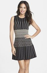 BCBGMAXAZRIA 'Wilma' Intarsia Knit Fit & Flare Dress