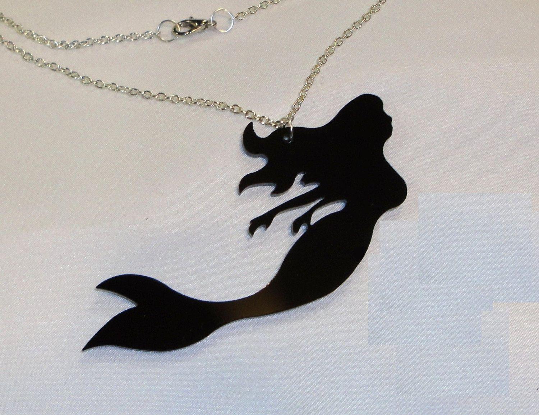 Mermaid Outline Template | Little Mermaid Silhouette Printable Black mermaid silhouette ...