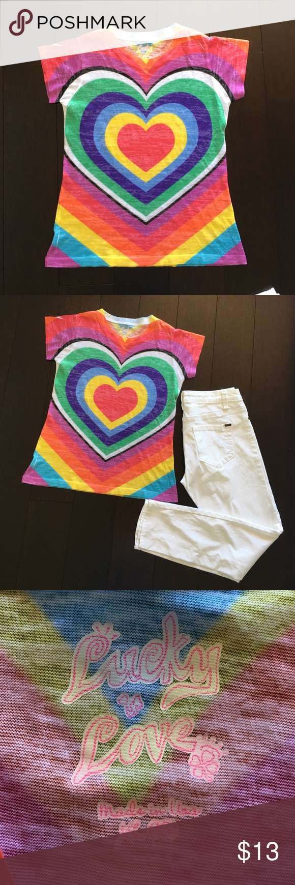 Lucky Love Tee XL (16) Vibrant colors, front and back. Made in the USA. Fabric appears to be cotton. The fabric does have some stretch. I feel that this shirt would fit an adult extra small also. Lucky Love Tops Tees - Short Sleeve