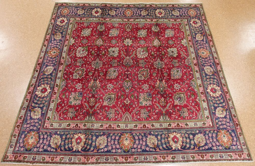 10 X 10 Persian Tabriz Hand Knotted Wool Red Navy Floral Square Oriental Rug Oriental Rug Rugs Tabriz Rug