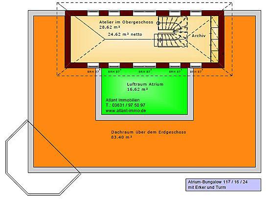 Atrium Bungalow 117 16 24 Grundriss mit Erker und Turm Einfamilienhaus Neubau Massivhaus Stein auf Stein