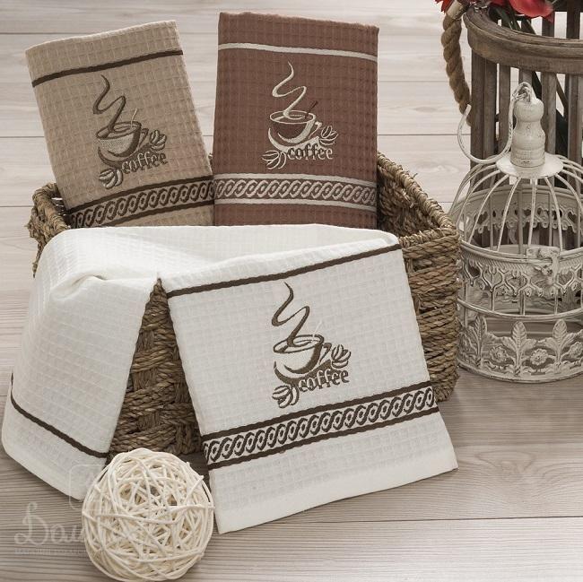 Набор вафельных полотенец с вышивкой COFFE ASSOS V4 40х60 (12шт) от Karna (Турция) - купить по низкой цене в интернет магазине Домильфо