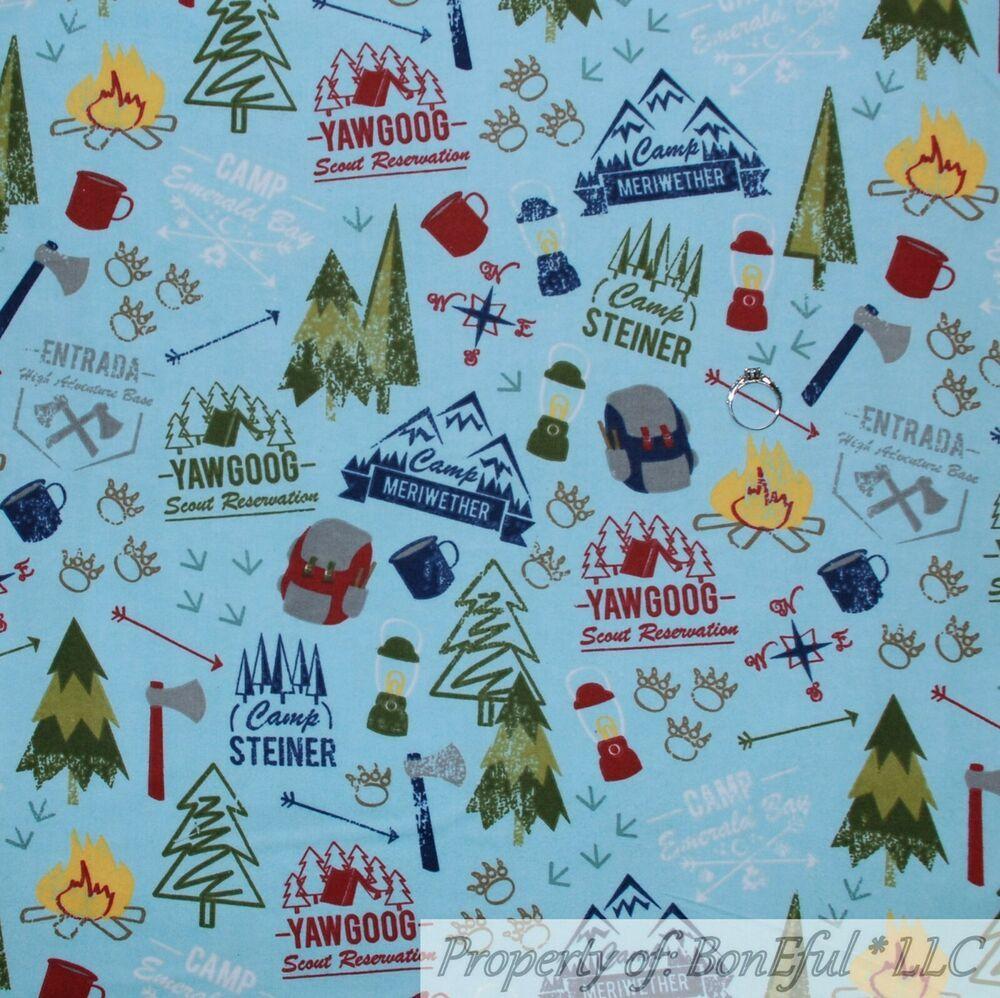 BonEful FABRIC FQ Cotton Quilt Blue White Snowman Snowflake Dot Forest Animal US