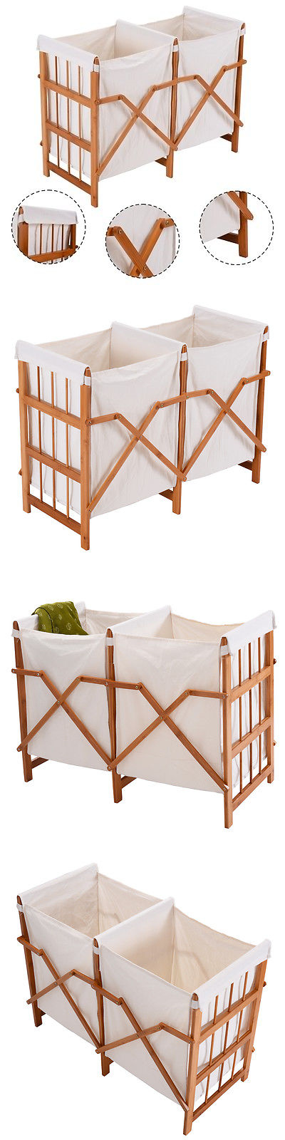 Hampers 43517: Household Folding Bamboo Frame Laundry Hamper Clothes ...